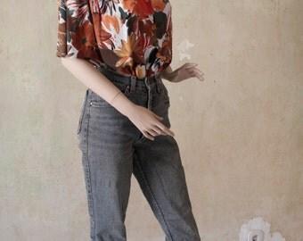 Abstract 1980s Hawaiian Shirt Blouse Size M E D I U M to L A R G E