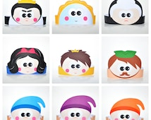 The Snow White Crowns Set. 14 Unique DIY Paper Hats Template for Home Theater. 7 Dwarfs Headbands. Snow White Witch and Prince. DIGITAL