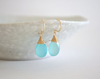Aqua Chalcedony Drop Earrings, Gold Filled