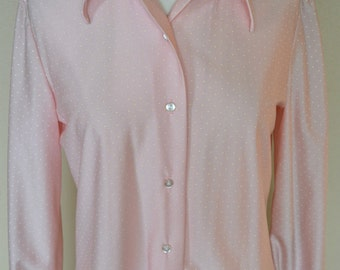 1960's Fritzi of California Light Pink Swiss Dot Blouse, Size Small