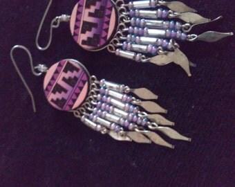 Purple, pink and black designed dangle earrings, dangle earrings