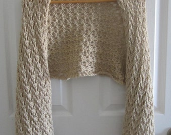 Knit Lace Wrap - Lacy Hand Knitted Shawl in an Eco Friendly Beige Acrylic - Made in Canada