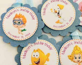 Birthday Party Tags,  Bubble Guppies Party Favor Tags,  Personalized  Tags, Candy Buffet Tags