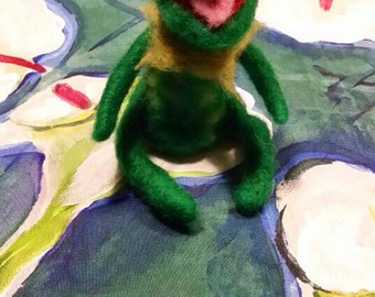 Kermit  of muppet show in carded wool mede to order