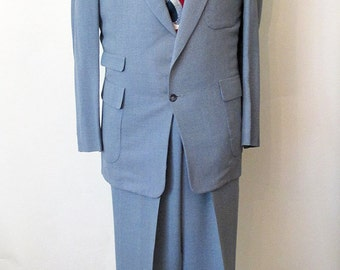 "1950's -S- Robinegg Blue Flex Wool Suit w/ Hollywood Waist Pants by ""Stanbury British Styling"" Rockabilly VLV Rock and Roll Stage Mad Men"