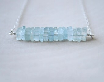 Aquamarine Necklace, Aquamarine Bead Necklace, Natural Aquamarine Jewelry
