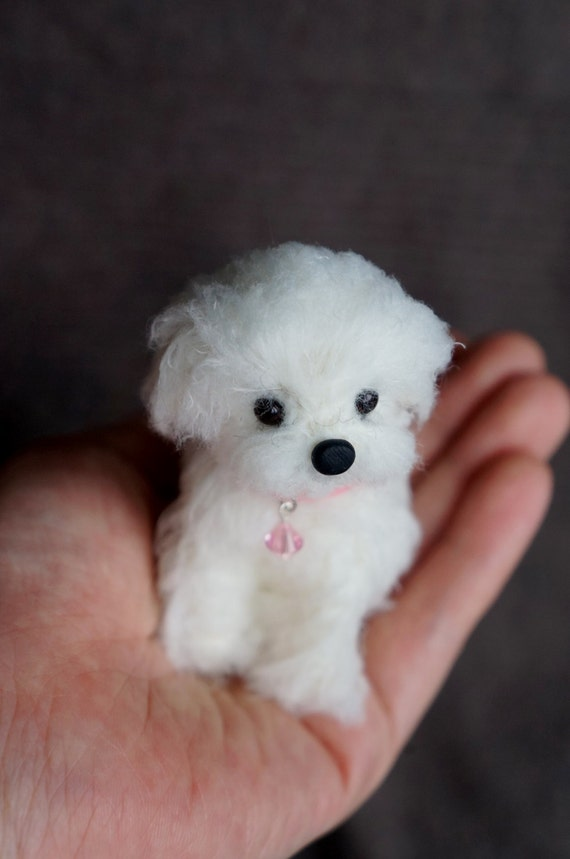 ... Felted Maltese Dog, Wool Maltipoo Shorkie Puppy, Felt Animal