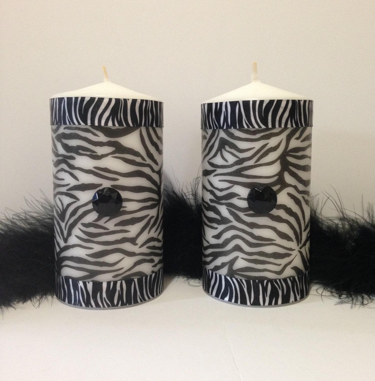 Zebra Print Pillar Candles Black And White Zebra Candles