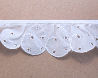 "BTY - 1 3/4"" Wide White Scalloped Eyelet Ruffled Lace - Wide Gathered Lace - Vintage Ruffled Trim  #E-20-11"