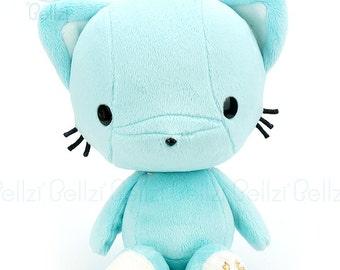 Bellzi® Cute Cat Plush Stuffed Animal Toy Teal w/ White Contrast Kitty Plushie - Kitti