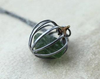 Apatite Necklace Gemstone Cage Pendant Green Apatite Vintage Metal Jewelry Raw Gemstone Oxidized Sterling Silver