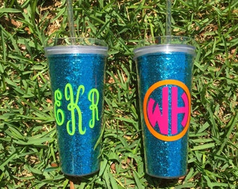 Personalized 22oz Acrylic Double Wall Tumbler w/Straw {Turquoise Glitter}