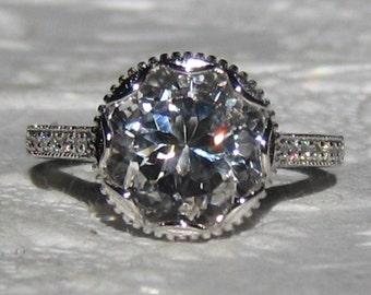 Floral White Topaz Engagement Ring, White Gold Milgrain Bezel Crocus Ring