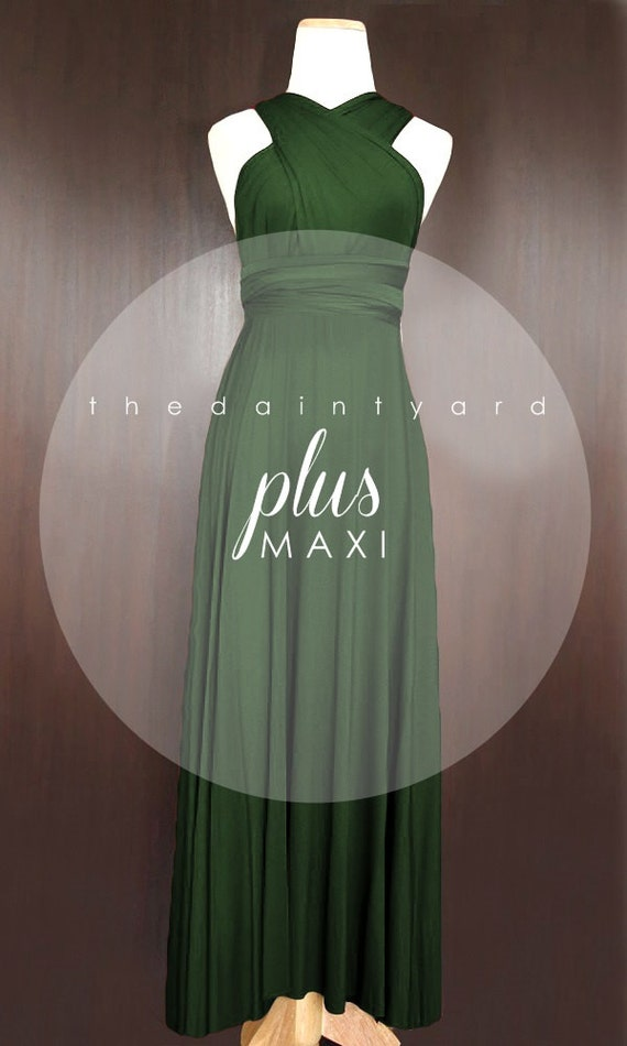 Maxi Plus Size Forest Green Bridesmaid Dress By Thedaintyard