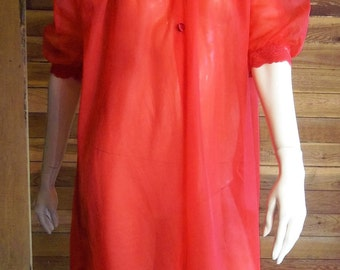 Vintage Lingerie 1940s TEXSHEEN Red Double Chiffon Peignoir or Robe XS