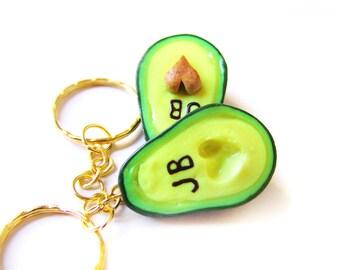Heart Avocado Best Friend Keychains, Miniature Food Jewelry, Polymer Clay Food Friendship Jewelry, Avocado Jewelry, Avocado Heart Charm