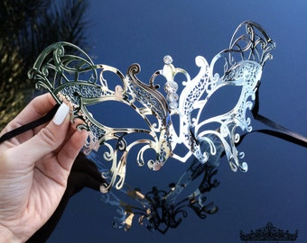 Masquerade Mask, Silver Masquerade Mask,  Masquerade Ball Mask, Mardi Gras Mask, Mardi Gras, Butterfly Costume  [Silver Butterfly Mask]