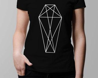 Geometric Coffin T-Shirt - Womens Graphic Tshirt - Occult Graphic T Shirt - Graphic Tee - Womens Sheer Scoopneck T-Shirt
