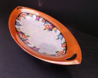 Antique Noritake Lusterware Celery Serving Dish Relish Tray