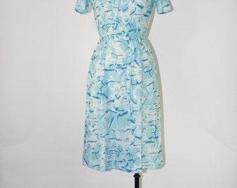 60s aqua printed dress / 1960s nautical dress / vintage knit jersey dress