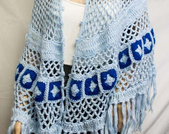 Knit shawl,Blue ,Crocheted,1970s, Blue Fringed Wrap,fringed shawl,granny squares,Desco