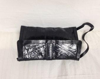 Black Eel Skin purse,bag,black leather, Shoulder