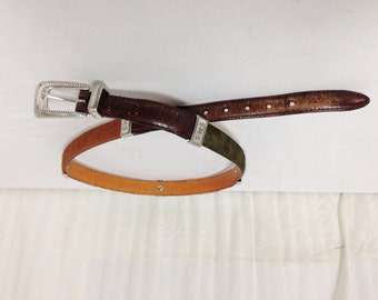 Brighton leather Belt, Cow Fur, Green , Red, Black ,34""