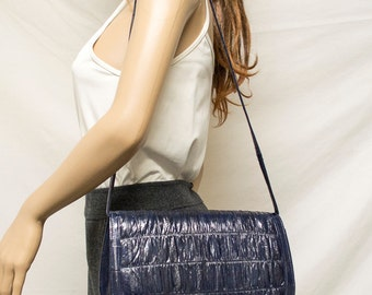 Eel Skin,bags purses, Shoulder Bag, Blue leather,leather bags,eelskin,FREE SHIPPING