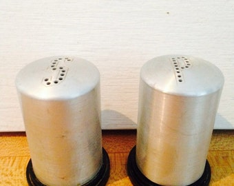 mid century aluminum salt and pepper shakers