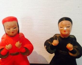 vintage asian ninja porcelain salt and pepper shakers