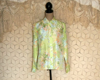Long Sleeve Silk Blouse Light Green Floral Shirt Button Up Blouse Suit Blouse Spring Clothing Liz Claiborne Small Medium Womens Clothing