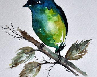 ORIGINAL Watercolor Bird Painting Lime Green Bird 6x8 inch