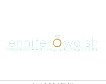 CLEARANCE - Watercolor DIY Business Logo, Pastel, photography, watermark, painted, weddings, engagement, Watercolor Diamond Ring