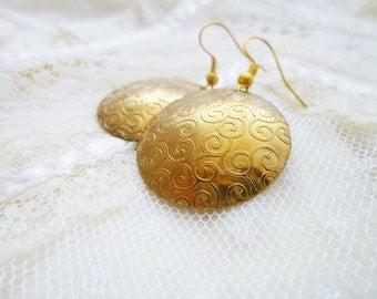 Air Element Earrings, Air Symbol Earrings, Boho Earrings, Rustic Earrings, Etched Brass Earrings, Antique Dangle Earrings