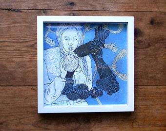 Original framed drawing on woodblock print / framed 7,9 x 7,9''