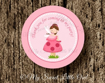 Fairy label - fairy cupcake topper - pink fairy sticker - fairy birthday - girl fairy party - fairy printable - fairies label