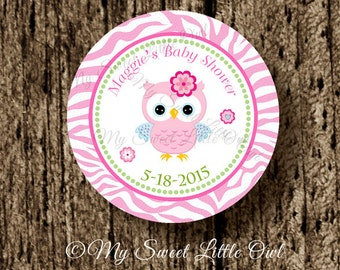 Pink Owl sticker - pink owl cupcake topper - owl birthday party - owl baby shower - owl printable - owl label - owl favor  tag - owl pink