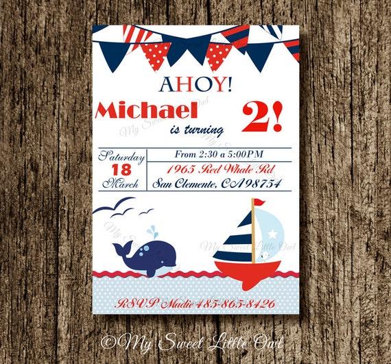 nautical invitation boy nautical invite red blue nautical