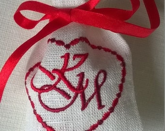 Custom embroidered Linen wedding favor bags, custom wedding candy bags,custom  thank you bags, personalized embroidery
