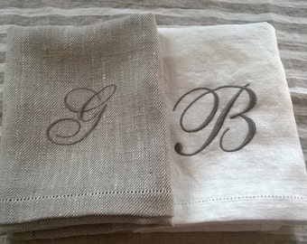 Monogrammed linen towels, custom embroidered linen hand towels,  vintage look towels, gest towels set of 2