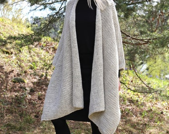 Instant Download PDF pattern. Hand knitted one size mantle - poncho and hat set. Digital pattern from Ilze Of Norway. (0114)