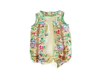 Barboteuse baby unisex, fancy owls