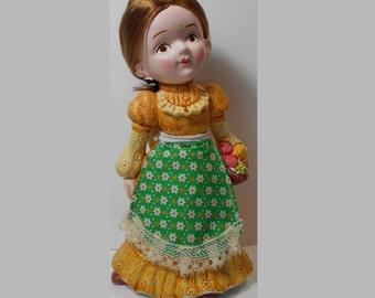 New Old Stock Retro Ceramic Brunette Girl Doll Bank