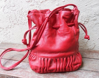 Vintage 70s Red Leather Purse