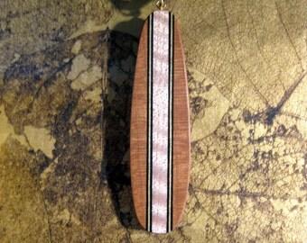 Longboard inspired Mahogany and Maple laminated necklace