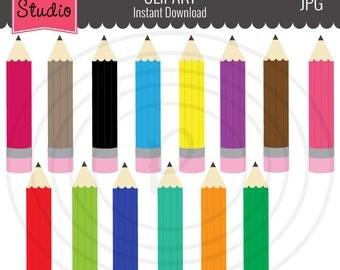 Sale 50% Off Color Pencils, School Supplies, Education Clipart, Art Supplies Clipart, Writing Pencils - Objects 110