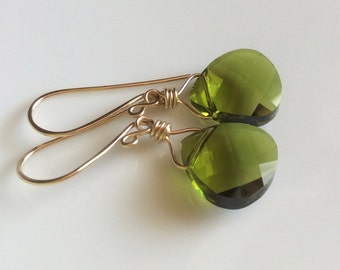 Olive Green Crystal Earrings / Gold Filled Earrings / Crystal Dangle Earrings / Olivine / Drop Earrings