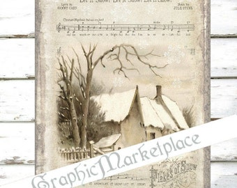 Let it Snow Winter Scene Large Image Instant Download Vintage Transfer Fabric digital collage sheet printable No. 074