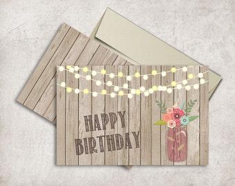 Rustic Birthday Card Printable, Mason Jar Birthday Card, Folded Birthday Card, Printable Birthday Cards, Digital File