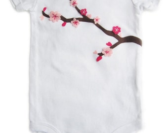 Cherry Blossom Baby Girl Spring Onesie/Bodysuit - Pink